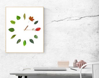 Natural clock. Nature wall art. Nature poster. Two High quality PDF files in two sizes. Bonus JPGs. A clock wall art. Printable wall art.
