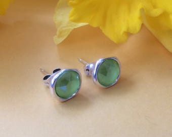 Antique silver studs with Lime Green Swarovski crystals