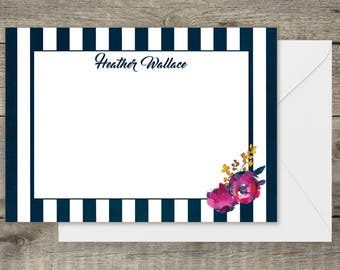 Personalized Navy Stripe Stationery.  Perfect for correspondence, thank you notes, gifts, bridal party gifts, Mother's Day or birthdays