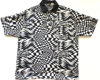 VINTAGE 90s Trippy Geometric Psychedelic Black & White Pattern Silk Polo Shirt (LARGE)