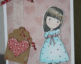 "card announcement ""happy birthday"" little girl"