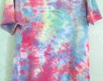 Tie Dye t-shirt 100% cotton Logo transparent fluorescent green size XL