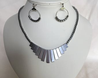 Silver Hematite Egyptian Style Necklace and Earrings Set
