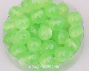 set of 5 acrylic beads - Green - 8 mm - color cat eye