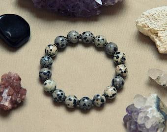Medium Dalmatian Obsidian Gemstone Bracelet
