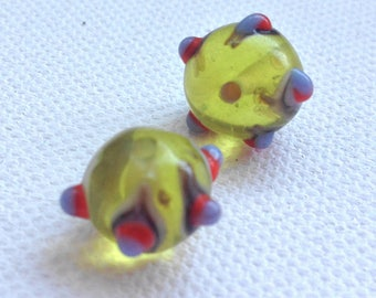 1 set of 2 yellow lampwork glass bead, round 12 mm approximately (G56)