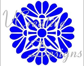 585 Floral Orb stencil