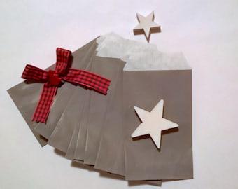 12 mini grey kraft paper bags