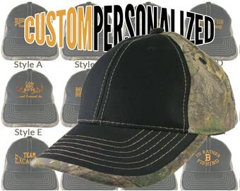Custom Personalized Safety Orange Embroidery on an Adjustable Black and Realtree Camo Baseball Cap Your Choice of 16 Front Decors Hunt Fish