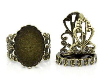 Adjustable ring antique bronze color cabochon 18 x 13 mm