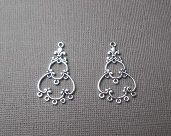 Set of 2 silver plated chandelier connectors
