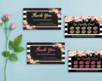 LipSense Loyalty Cards, LipSense Thank You Cards, Customer Loyalty, Punch Card, Lipsense Loyalty Rewards, Digital Files LS02