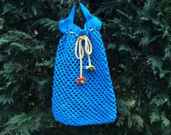 To carry all crocheted cotton turquoise