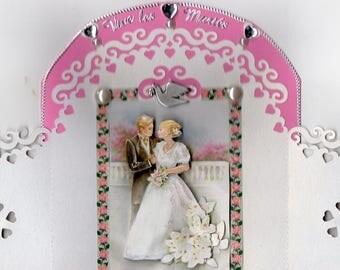 3d with door and pink 6 wedding card