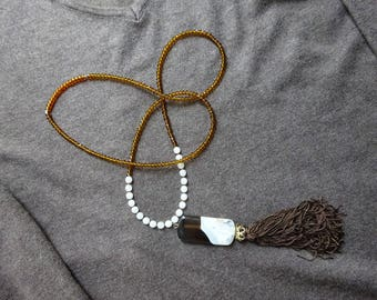 Bohemian ethnic necklace, tassel and large Bi-color Agate