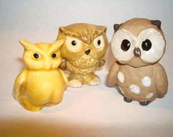 Vintage Miniature Owl Trio Estate Find