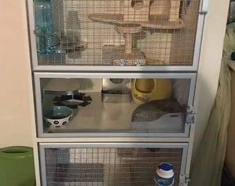 Chinchilla Ferret Wood Hutch Cage House Double Unit Small Pet Animal