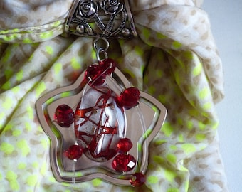 JEWELRY SCARF SILVER AND RED GLASS BEADS