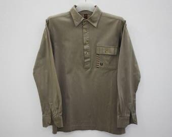 Emanuel Ungaro Paris Brown Cotton Long Sleeve Half Buttoned Shirt Size M
