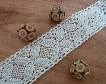 1 meter Ribbon - lace - white cotton lace - 6 cm wide