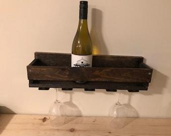 Rustic Handmade Wooden Wine Rack