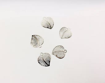 prints 20 leaves rhodium 12.50x11mm for creations of jewels