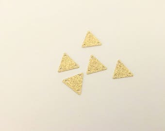 10 sequins spacer triangle 11mm, gold glitter for jewelry making