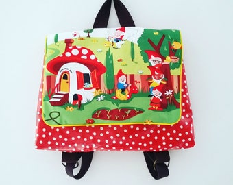 """Bag / school kindergarten bag or Manger """"Gnomeville"""""""