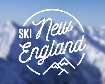 Ski New England Vinyl Decal | Water Bottle Decal | Car Window Decal | Laptop Decal