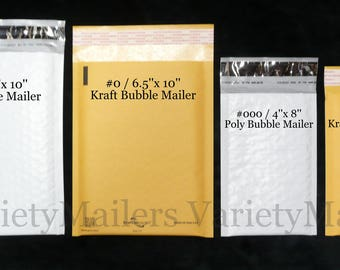 """20 Kraft and Poly Bubble Padded Envelope Mailer Variety ~ Two sizes #0 6.5""""x 10"""" & #000 4""""x 8""""  Made in The USA ~ Free Shipping!"""