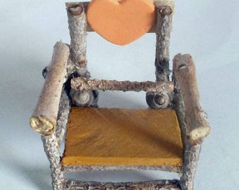 Fairy Miniature Rustic Chair Made With Twigs, A Wooden Ornate Heart, Beach Stones and Seashells