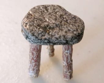 Fairy Miniature Rustic Stool Of Twigs With A Stone Seat