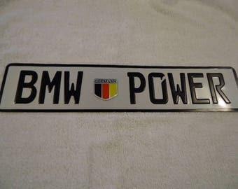 "Embossed ""BMW POWER"" European Aluminum License Plate."