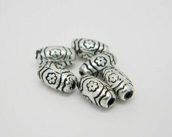 x 6 10mm (l804) silver tube bead