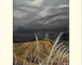 "Before The Storm (Windmill  Landscape), Pastels, Print 12"" x 16"" inc. Mount"