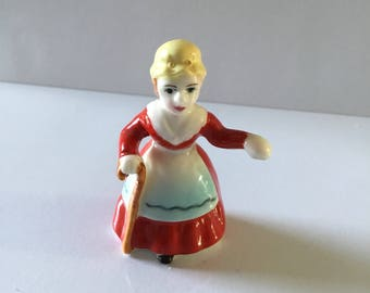 Victorian 1860, small porcelain lady figurine, domestic maid.