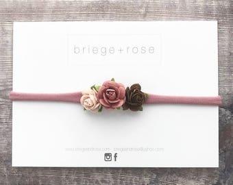 dusky pink bows, baby/girl hair bow, flower headband, newborn headband, nylon headband, flower hair band