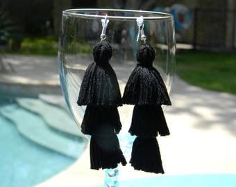 Tassel Earrings - Jet Black