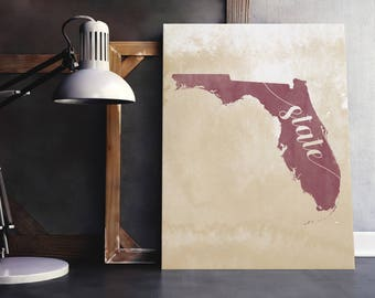 """Florida State """"State"""" Garnet & Gold Wrapped Canvas Print, Wall Decor"""