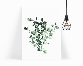 Nordic Style Tropical Leaves Wall Art Print for Scandinavian Decor Modern Minimalist Poster Print-FRAMED&MOUNTED