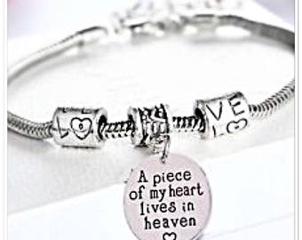 A piece of my heart lives in heaven remembrance charm bracelet