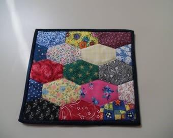 Scrappy elongated hexagon snack mat, candle mat, mug rug