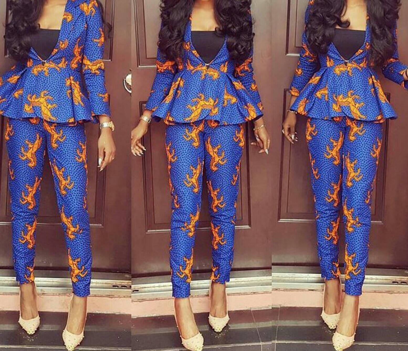 Ankara Styles 127 Show Down: African Print Peplum Jacket And Pants/African Clothing/African