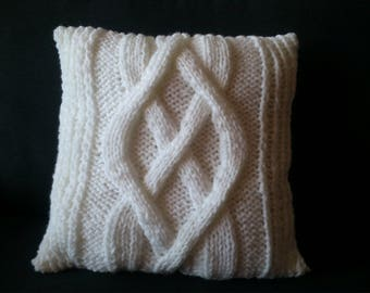 White knit pillow