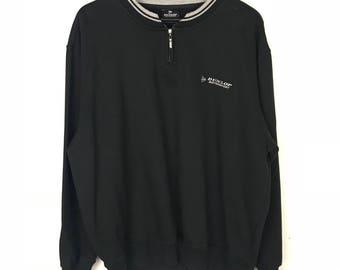 Rare!!! Dunlop Motorsport Sweatshirt Pullover Spellout Small Logo Embroidery Stripes Half Zipper