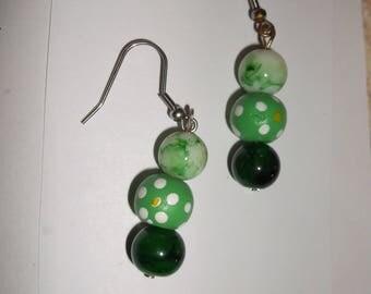 Earrings 3 green beads