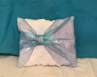 Sparkly Blue Princess Pillow with a  Bow