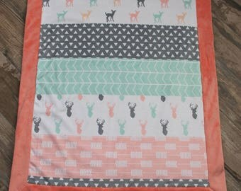 baby blanket, minky blanket, deer blanket, girl blanket, desinger minky blanket, ready to ship, baby shower gift