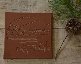 Limited Edition/Stone/Tile Trivet/Engraved/Table Centerpiece/Housewarming/Trivet for Hot Dish/Engraved Kitchen Ware/Lake View/Red