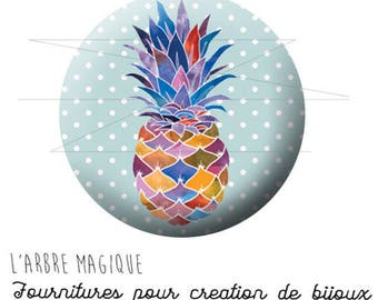 2 cabochons glue pineapple fruit exotic ref 1737 - 18 mm